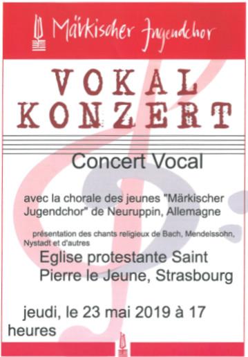 Concert du 23 mai à 17h : Chorale des Jeunes de Neuruppin
