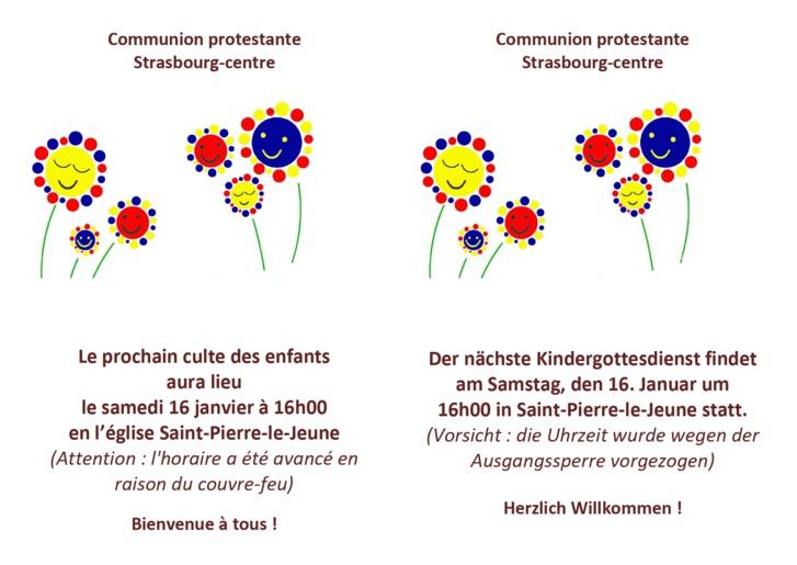 Culte pour les enfants - samedi 16 janvier 2021