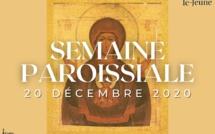 Semaine paroissiale - 20 décembre 2020